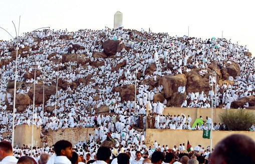 Muslim pilgrims pray on a rocky hill called the Mountain of Mercy, on the Plain of Arafat near Mecca, Saudi Arabia, Thursday, Nov. 26, 2009. (AP Photo/Hassan Ammar)