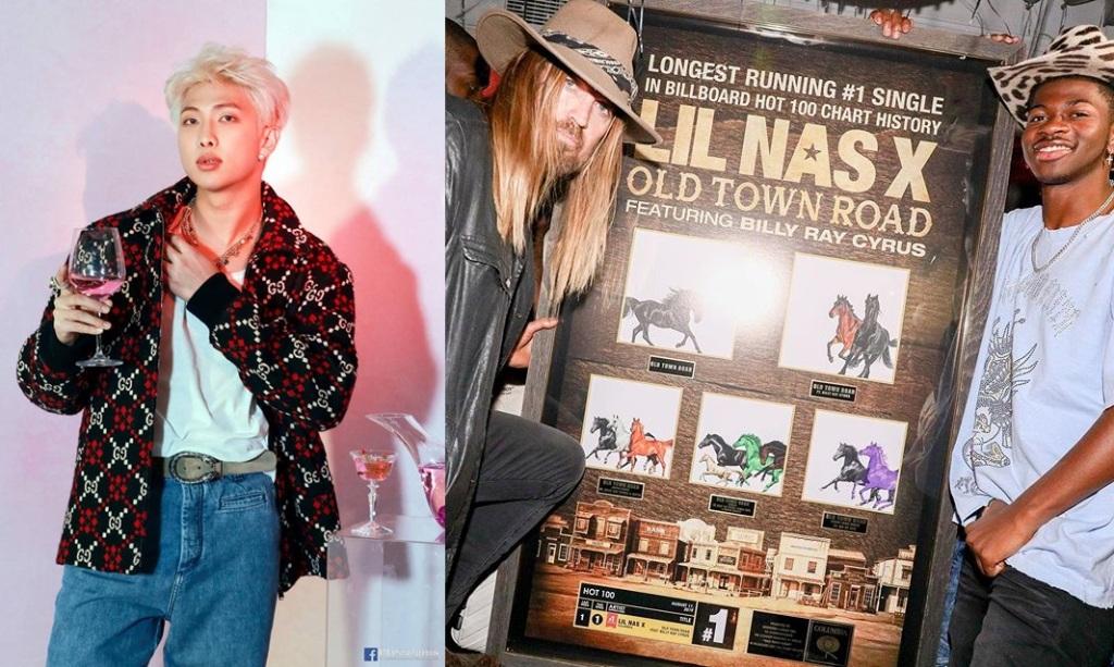 Billy Ray Cyrus dan Lil Nas X memegang plakat rekor Old Town Road beserta kreditnya untuk versi remiks, termasuk bersama RM BTS © Instagram.com/theronperry